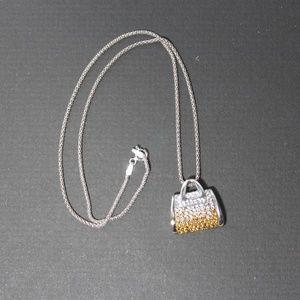 Jewelry - Brilliant Sterling Silver Purse Pendant Necklace